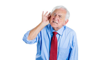 Old man, senior executive having hearing problems